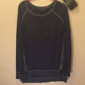 Rock and Republic Large Sleeve Shirt Blue with...